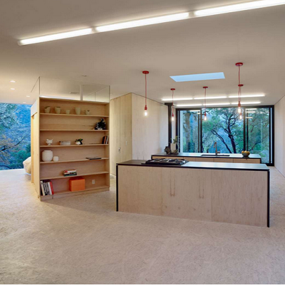 USA Interior: A sustainable design includes open interiors made from off-the-shelf plywood and OSB board. (Moose Road)