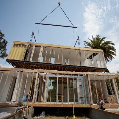 This prefab home, called Casabrava, gets delivered onto a La Jolla, CA property. (U-T San Diego)