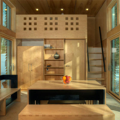 The interior is sheathed in plywood, a popular look. See the great room, which opens up the space, along with one of two lofts and the hidden bathroom below. (Revelations Architects)