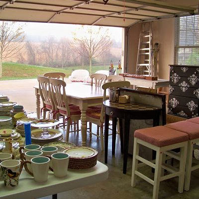 This garage sale aimed to sell furniture and kitchen items. They sold within a couple hours! (The Comforts of Home)