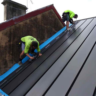 New heat and power roof: The top solar layer, seen here, generates electricity. Then heated air gets trapped between layers for heating purposes. (Renew Economy, Australia)