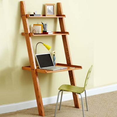 This U.S. ladder-style piece looks handy with a computer desk and storage shelves to boot. It's only thumbs-down because you may find similarly-sized furniture with standard support instead. (Mastercraft LBI, designer)