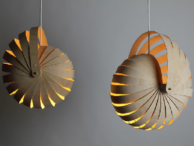 Designer Rebecca Asquith created this lampshade which rolls back into itself and mimics the Nautilus shell. (Design Tree)