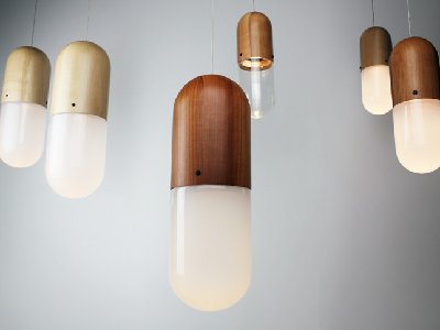 From New Zealand, Pil pendants are made from native beech and artisan blown glass. (Design Tree)