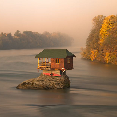 "Now we'll introduce the iconic image of ""tiny house on a rock,"" which is downright drool-worthy. (Irene Becker)"