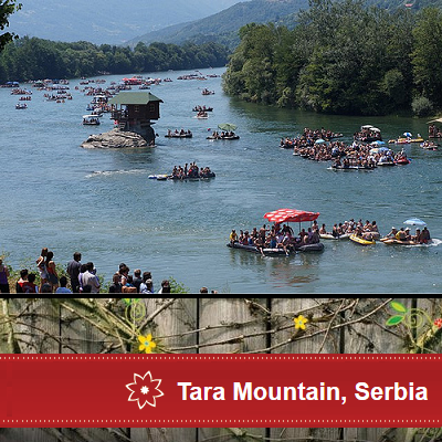 Okay, the Serbian river house isn't exactly a secret. It's a lovely place to visit, filled with tourists. (Tara Mountain)