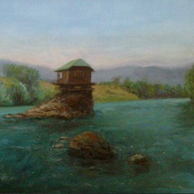 In celebration, here's an impressionist painting of the tiny house perched on its island site. (Kucica na Steni, facebook)