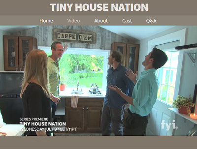 Here's a half-minute, sneak peek video of Tiny House Nation. Click on the image, and watch closely as several newly-built tinies flash before your eyes. (fyi.tv)