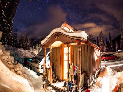 Look at this tiny ski house built by Zack Giffin, which glows in a cold winter night. Parked next to ski lifts, it's conveniently close to tomorrow's backcountry adventures. (Ian Provo photo)