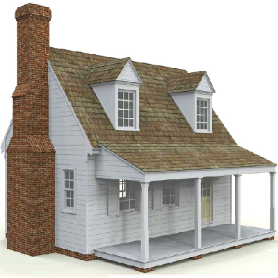 Chesapeake Tidewater Cottage - English settlers, from the 1700s, built these cottages in MD and VA colonies. Measures 611 sq. ft. with a 168 sq. ft. porch. (Pennywise)