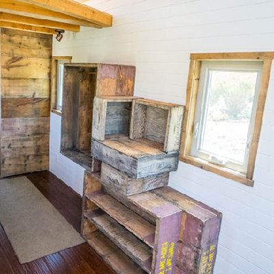 Tiny House Stairs la tiny house with smart staircase to loft Heres Something Different Crates Are Installed For Stairs And Small Items In A New House