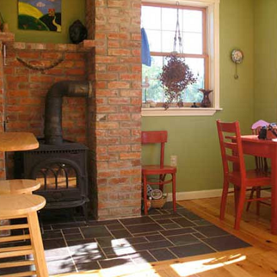 3 - A protective brick nook surrounds this larger gas stove.