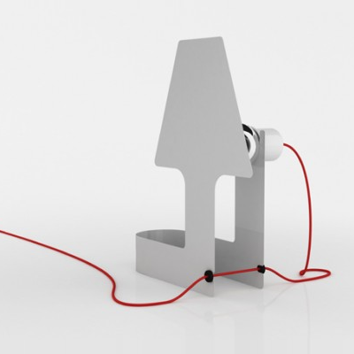 After bending, this lamp stands with its obvious cord and hidden bulb. Pick a white, black, red or steel finish. (Almerich)