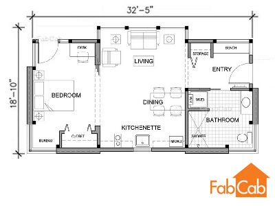 The floor plan of the TimberCab 550 features a separate bedroom, great room with kitchen, bath and entry. It's possible to build on any foundation for storage. (FabCab)
