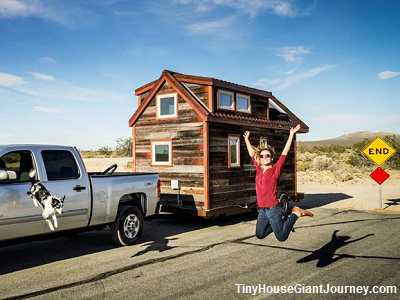 House at road's end, in California (Tiny House Giant Journey)