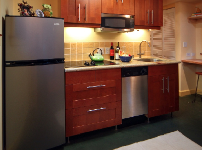 Modern Galley With Wood Cabinetry And Stainless Steel. Appliances Include A  Fridge Freezer,