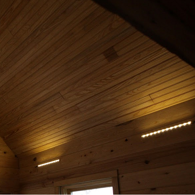 In his tiny house, Art Cormier installed LED lighting exclusively. Some LED strips are shown in the great room here. He used laledus.com, a local Louisiana maker. (Tiny SIP House)