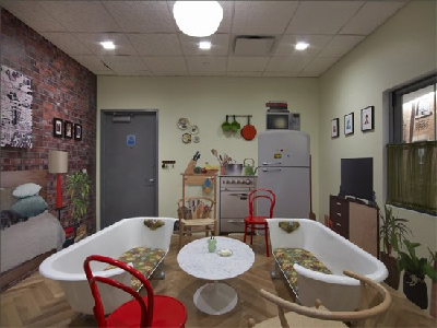 GOOGLE - In the NYC office, Google's tiny apartment interior delivers a non-Googley meeting environment. (PC Mag)