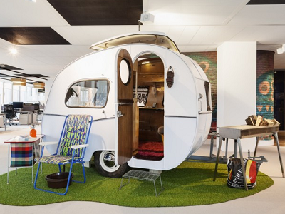 GOOGLE - There's a furnished tiny house trailer parked in the Amsterdam office. We love this escape! (Office Snapshots)