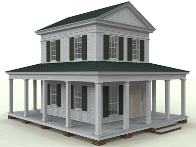 New Republic Cottage - In the 1700s, these Greek Revivals were popularized as the National style. Measures 560 sq.ft. with an 800 sq. ft. porch (Pennywise)
