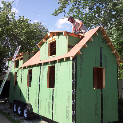 Here's the modified Cypress under construction, with sheathing complete and the roof getting installed. (schmidts2x)