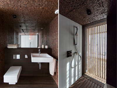 A sustainable, upscale looking bathroom has been installed in the Austrian prototype home. (DOE 2013)