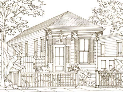 """210 Gentilly Road"" is a classic New Orleans shot-gun house with 934 sq. ft. We found this one through a Southern Living architect. (Our Town Plans, Peachtree City, GA)"