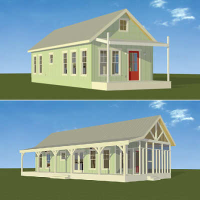 Kanga cottage prefabs, with porch/entry options, range from 280 to 640 sq. ft. (Kanga Systems)