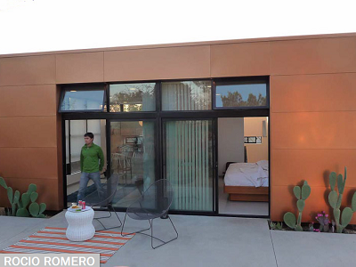 This Arizona home is clad in a rust-colored metal. Its deck is accessed from the bedroom and great room.  (Rocio Romero)