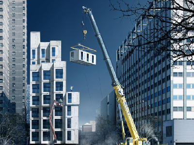 NYC - During construction, each living space will be assembled by crane. They look like modern tiny homes! (nArchitects)