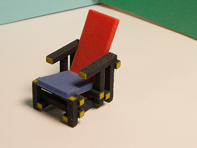 Gerrit Rietveld designed this angular colored chair (1923) which honors and echoes fellow Dutchman Piet Modrian's paintings. (KSpence)