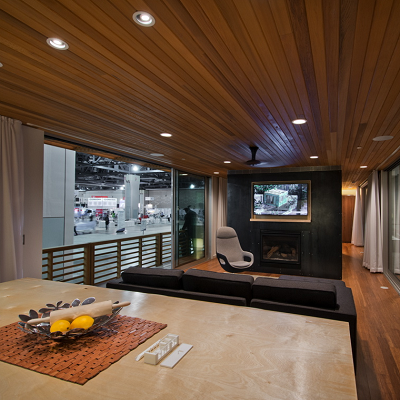 With a streamlined and hip feel, the Greenbuild cabin offers plenty of square footage to add your touches. (re4a.com)