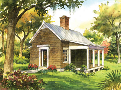 """Garden Cottage"" sports separate living and bedrooms, a small bathroom and galley kitchen. The 540 sq. ft. size excludes its porch. (Architects Group 3 Design, Hilton Head, SC)"