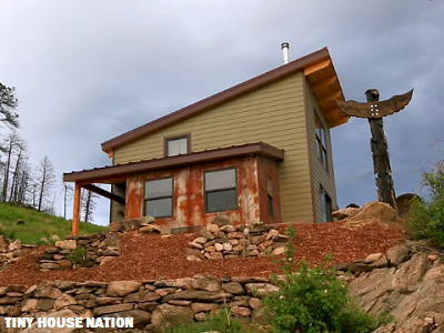 "This 500 sq. ft. ""mountain mansion"" was first constructed at Cabin Fever's warehouse in Florida, packed up and delivered to Colorado, and finished locally. (Tiny House Nation)"