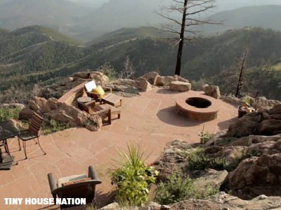 The owners have  breath-taking views of the Colorado Front Range, not far from Denver. Their terrace is postcard perfect. (Tiny House Nation)
