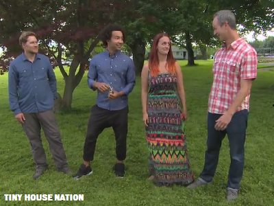 Meet the homeowners, a traveling nurse named Angela and her musician boyfriend Hydrect. They are flanked by Tiny House Nation hosts Zach and John. (Tiny House Nation)