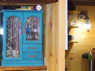 Maybe this armoire seems too small, though it's a cute way to store jewelry in a tiny house. (Another Tiny House Story)