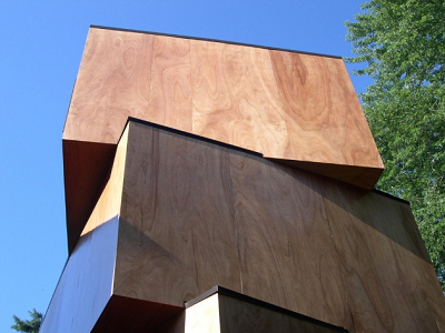 CAMBRIDGE, MA - This plywood-clad structure includes three slightly rotated and assembled modules. (Archdaily)