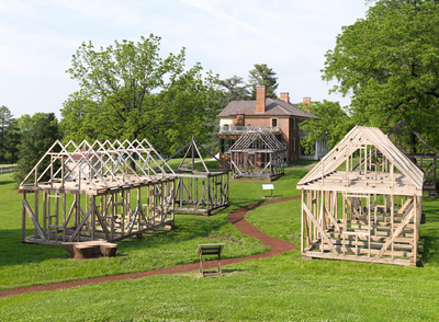 The South Yard framed structures are shown above. They outline duplex homes, one small smokehouse and a large kitchen closest to the mansion itself. (Montpelier.org)