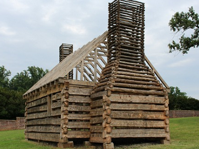 Here's a framed version of a slave cabin constructed in the Stable Quarters area. Don't be fooled, as this log structure was not built to last. (Montpelier.org)